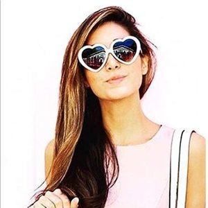 White heart retro sunglasses